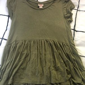 Army Green peplum top